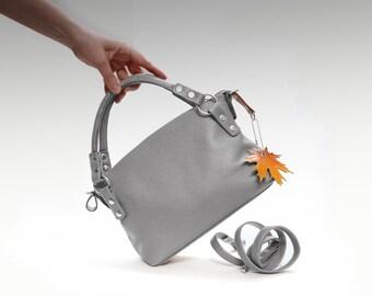 Gray leather bag women's minimalist purse crossbody handbag elegant Simple bag shoulder strap small classic everyday top handle bag