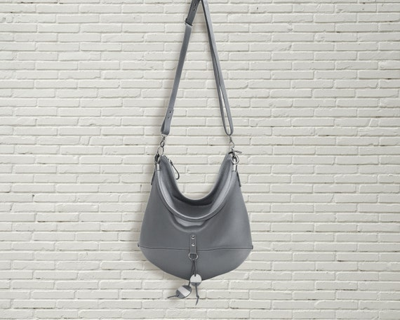 Gray leather hobo bag crossbody women shoulder bag slouchy  59ddce61c4729