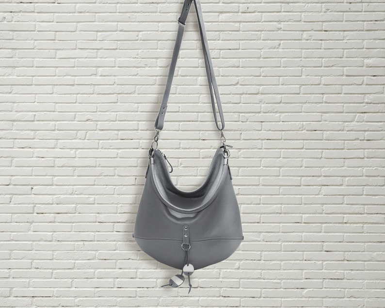 6b20652008c2 Gray leather hobo bag, crossbody women shoulder bag, slouchy large zipper  tote, oversize simple handbag, everyday leather purse