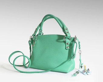 Simple leather bag women's minimalist purse crossbody handbag elegant emerald bag shoulder strap small classic everyday top handle bag