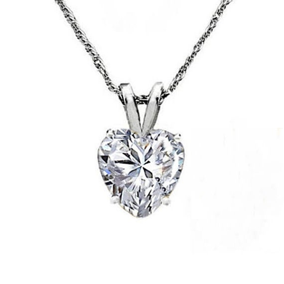 14k Yellow Gold Plated 925 Silver 1.00 Ct Round Cut Simulated Diamond Solitaire Pendant With Chain