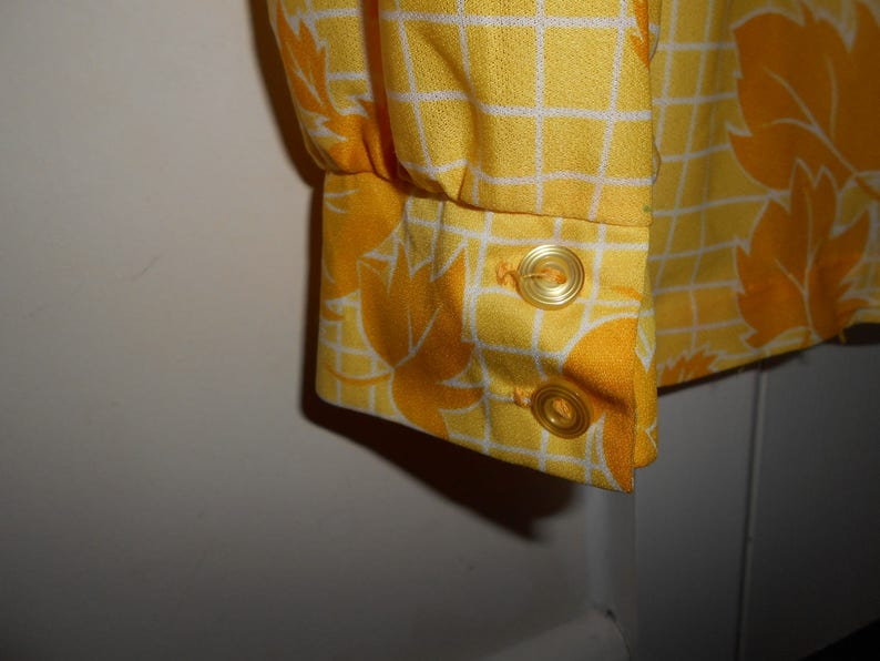 Graff Californiawear 100/% Polyester Yellow And White Pinstripe Checks And Leaves Vintage Unisex Button Up Shirt SpringSummer Clothing