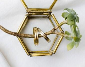 Handmade Wedding Rings Set. 18k gold ring.