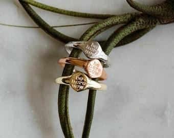 Handmade chevalier ring in 18k gold. BE HERE NOW ring