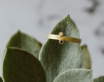 Tiny stackable ring with little diamond. Handmade ring in 18k gold.