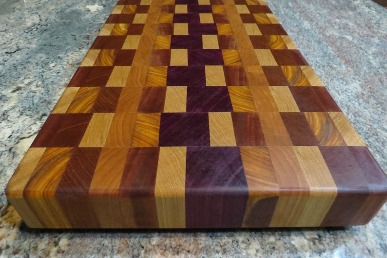 Handmade End Grain Exotic Hardwood Cutting Board Cheese Board Butcher Block 17-1516 x 11-14 x 2 high