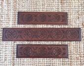 Set of elegant French vintage carved wooden corner garnitures decorative details intricately carved patinated wood of great quality