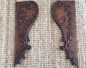 Elegant French antique carved wooden brackets or garnitures with naturalist decorative motifs intricately carved patinated wood