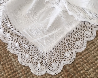 crocheted edge romantic floral motif, French vintage  lace bedspread /romantic /throw curtain or tablecloth.