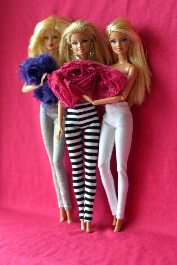 Barbie 3 Pcs Of Leggings Stretch Cotton Three Items Of Leggings Barbie Clothes