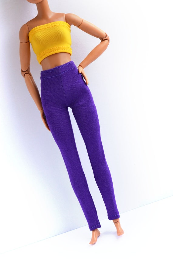 Curvy barbie stretch denim leggings,made to movie barbie clothes doll clothes
