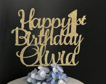 Any Name Any Age Happy Birthday Cake Topper, Custom Birthday Cake Topper, Birthday, 1st Birthday Cake Topper, Happy 21st Birthday Topper