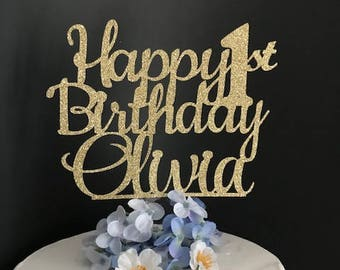 Happy Birthday Cake Topper, Custom Birthday Cake Topper, Personalized Cake Topper, 1st Birthday Cake Topper, Happy 21st Birthday Topper