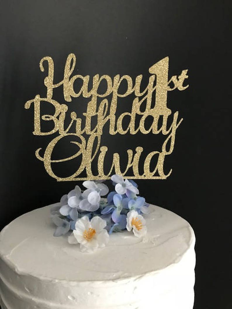 Happy Birthday Cake Topper Any Age Name