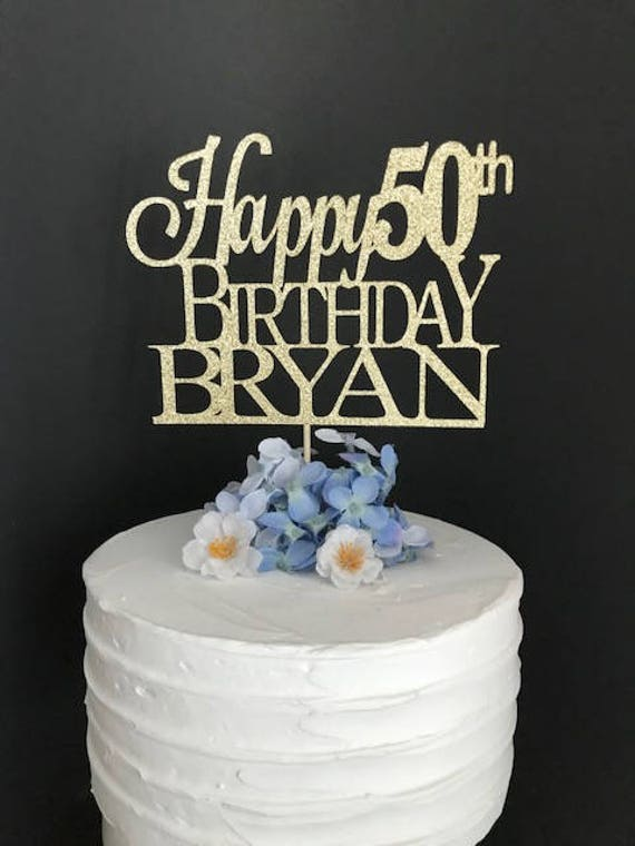 Strange 50Th Birthday Cake Topper Custom Birthday Cake Topper 50Th Etsy Personalised Birthday Cards Veneteletsinfo