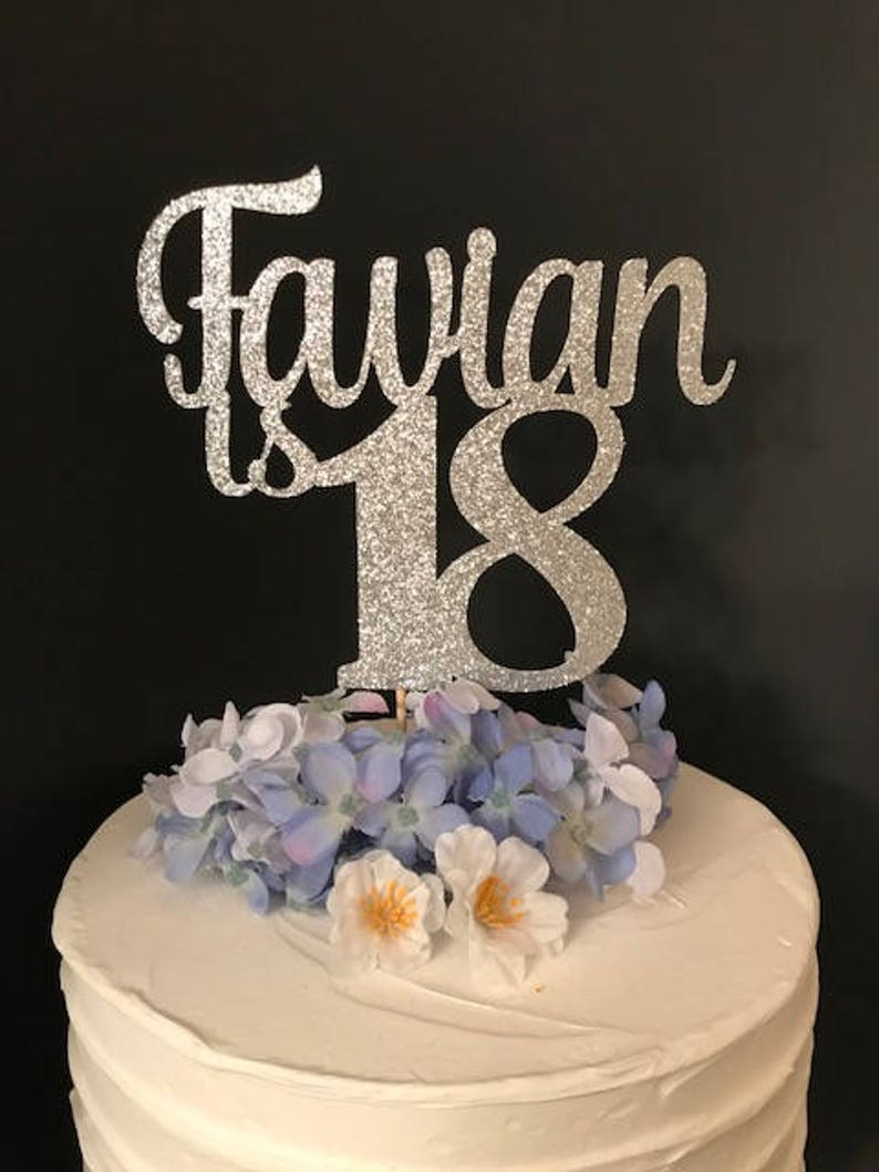 Any Name Number 18th Birthday Cake Topper Happy