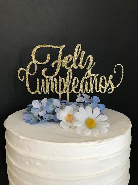 Admirable Feliz Cumpleanos Cake Topper Spanish Birthday Cake Topper Etsy Funny Birthday Cards Online Inifodamsfinfo