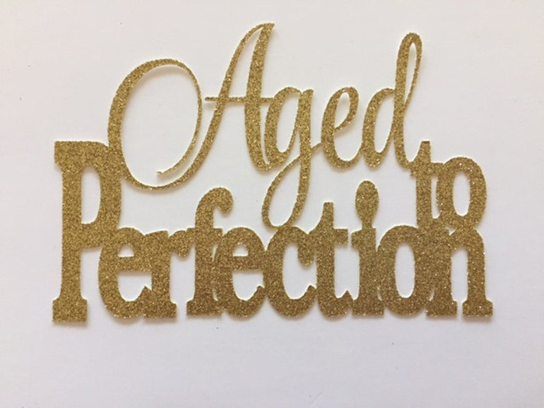 birthday cake topper Aged Cake topper Aged to perfection glitter cake topper birthday party Gold Aged to Perfection cake topper