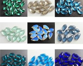 Glass Drop Pendant Aquamarine Faceted Glass Teardrop SALE 10pcs B057 Rhodium Framed Glass Charm