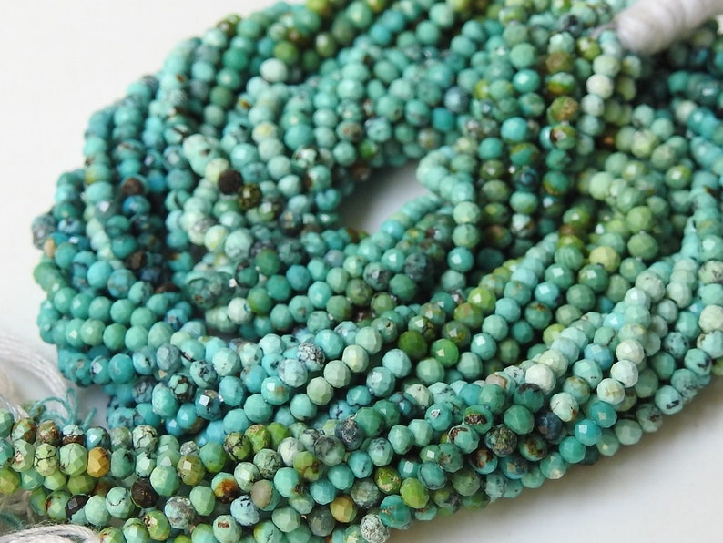 Natural Arizona Turquoise 1 Strand 13 Inches Multi Shaded Micro Faceted Roundel Beads 2 MM Approx Turquoise Beads Turquoise Jewelry pme B2
