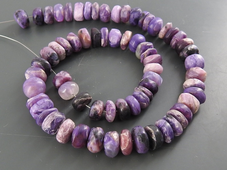 12 Inch Charoite Natural Smooth Roundel Beads Matte Polished Wholesale Price New Arrival B13