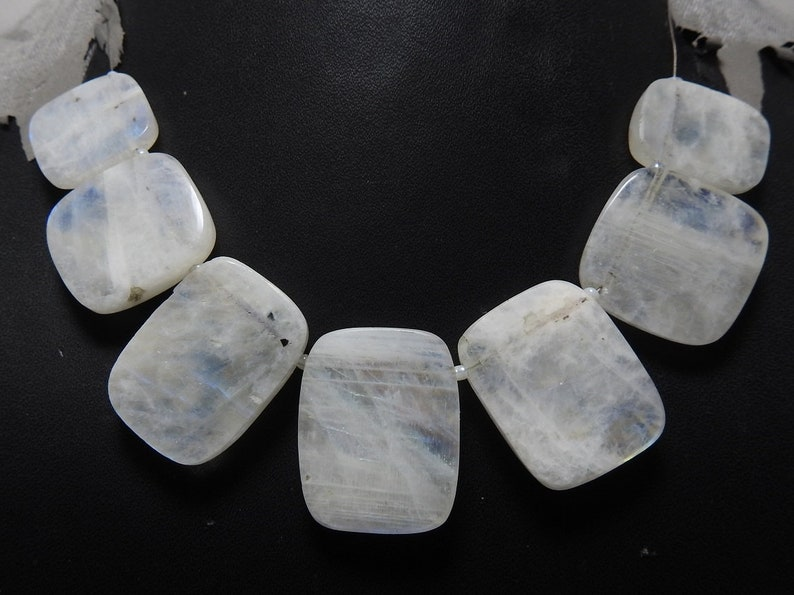 White Rainbow Moonstone 1.Strand 7 Pcs Faceted Fancy Rectangle Shape Briolettes Finest Quality 100/% Natural Wholesale Price New Arrival