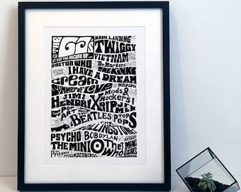 The History of the 1960s Sixties Typography Illustration Poster Print