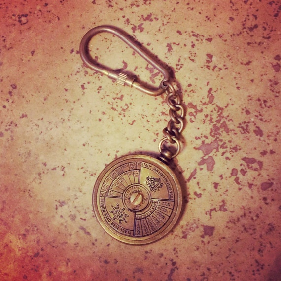 50 Year Perpetual Calendar Key chain Antique Brass Nautical Vintage Style gift