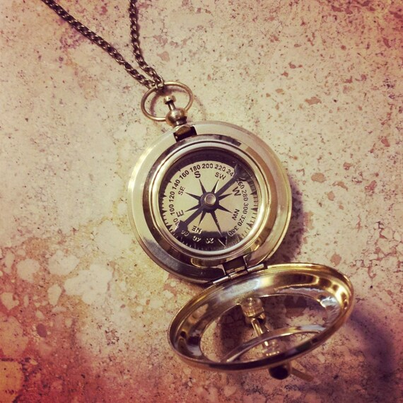 Sundial Compass Pendant Vintage Nautical Antique Brass /& Glass Heavy Duty