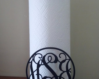 Monogrammed Metal Paper Towel Holder, Personalized Home Deocr, Christmas Gift, Gift for Her, Gift for Couple, Housewarming Gift
