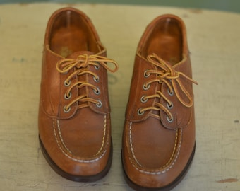 6ee1b89f426 Vintage Sebago Campsides Brown Leather Boat Shoes Lace Up Made in USA  Womens Size 6 Medium Docksiders