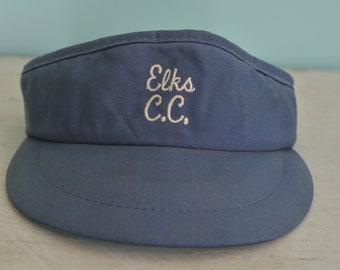 8b3fbae4a55 70s 80s Vintage Sun Visor Hat Cap Elks Country Club C.C. Adjustable Adult  Sized Blue Hat