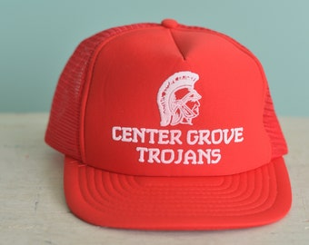 ed836e90f876 Vintage 80s Snapback Trucker Hat Center Grove Trojans Greenwood Indiana  High School Red Baseball Cap Adjustable Adult Sized Hat