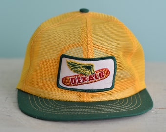 8a51c835 Vintage 80s Snapback Trucker Hat DEKALB Yellow All Mesh With Patch Farming  Agriculture Seed Adjustable Adult Baseball Cap