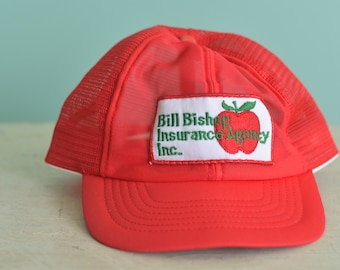 8a5954d278eea Vintage 80s Snapback Trucker Hat Bill Bishop Insurance Agency Red Baseball  Cap With Patch Adjustable Adult Sized Hat