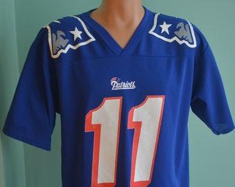 63394bd3dfc Vintage 90s New England Patriots Drew Bledsoe Jersey #11 NFL Medium Blue  Football Jersey