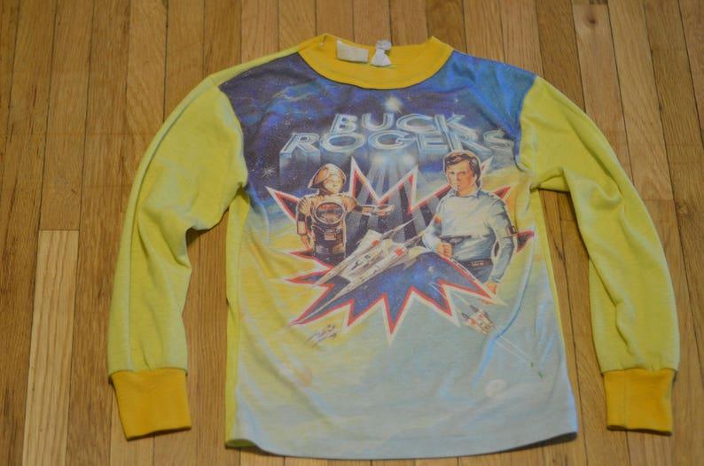 5e73c0e1daf5b 70s Buck Rogers Pajama Top Youth Medium (8-10) Long Sleeve Top Space Sci-Fi