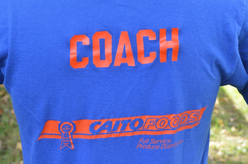80s T-Shirt St  Angels Coach Caito Foods Produce Distribution Health Knit  Large Blue Soft Thin Tee