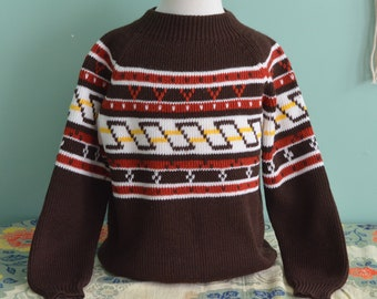 Vintage 70s Kid's Ski Sweater Nordic Geometric Knit Pullover Youth Small 8-10