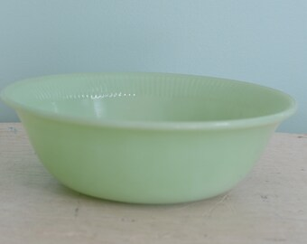 """Vintage Jadeite Fire King Jane Ray  8"""" Vegetable Bowl Glass Oven Ware USA"""