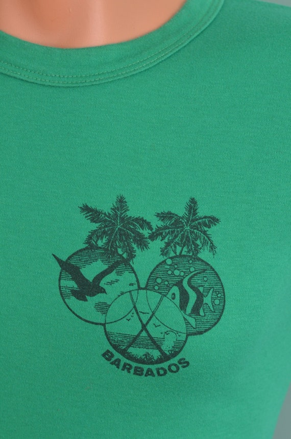 60dcafcd62368 80s T-Shirt BARBADOS Tourist Souvenir Travel Small Green Tee West Indies  Caribbean
