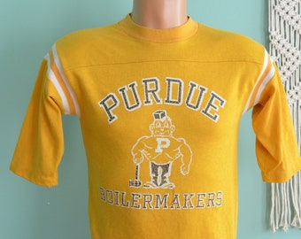 Vintage 80s Jersey PURDUE University Boilermakers Purdue Pete DISTRESSED Small Yellow Athletic Tee