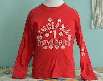 Vintage 80s Indiana University IU Hoosiers Basketball Champions Big Ten NCAA Kids Long Sleeve Shirt Champion Youth Small (6-8)