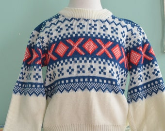 Vintage 70s Kid's Ski Sweater Nordic Knit Pullover Youth Small 8-10