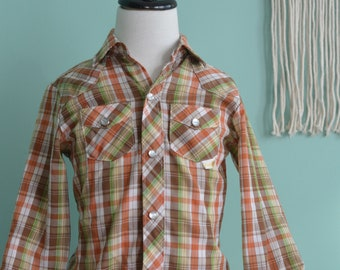 Vintage 80s Kids Pearl Snap Plaid Western Long Sleeve Shirt Size Small (7) Cowboy Rodeo Rock Star