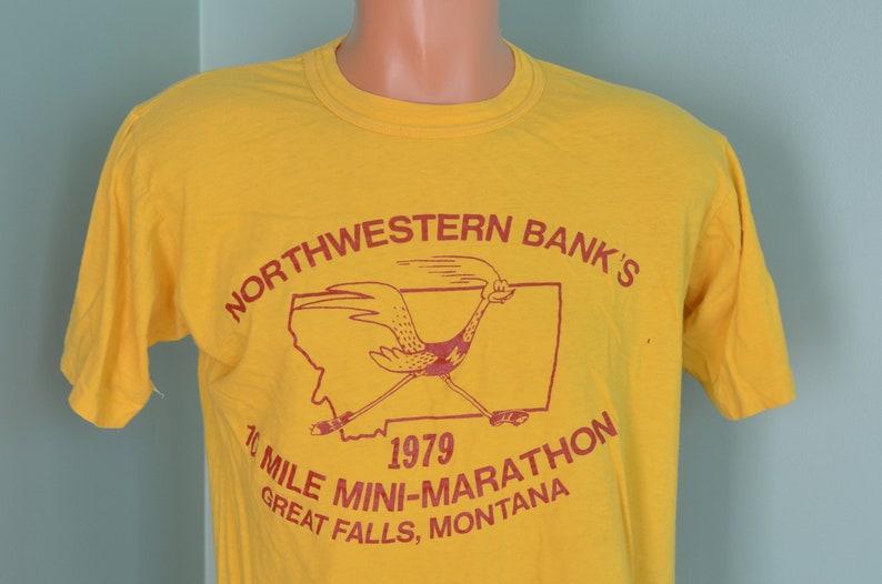 d6495cdad9431 70s T-Shirt Northwestern Bank's 10 Mile Marathon 1979 Great Falls, Montana  Road Runner XL Golden Yellow Tee