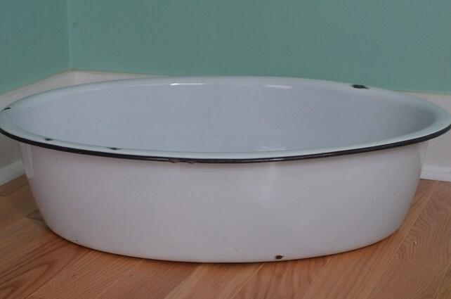 Vintage Large Oval White Porcelain Enamel Baby Bathtub Basin | Etsy