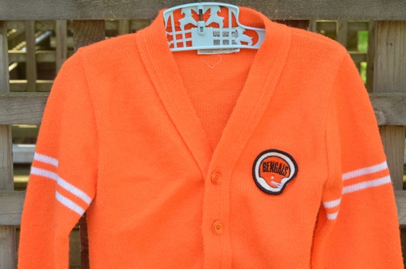 3b03ecce 70s Youth Acrylic Cardigan Orange Sweater with Cincinnati Bengals Patch  Robinit 5T