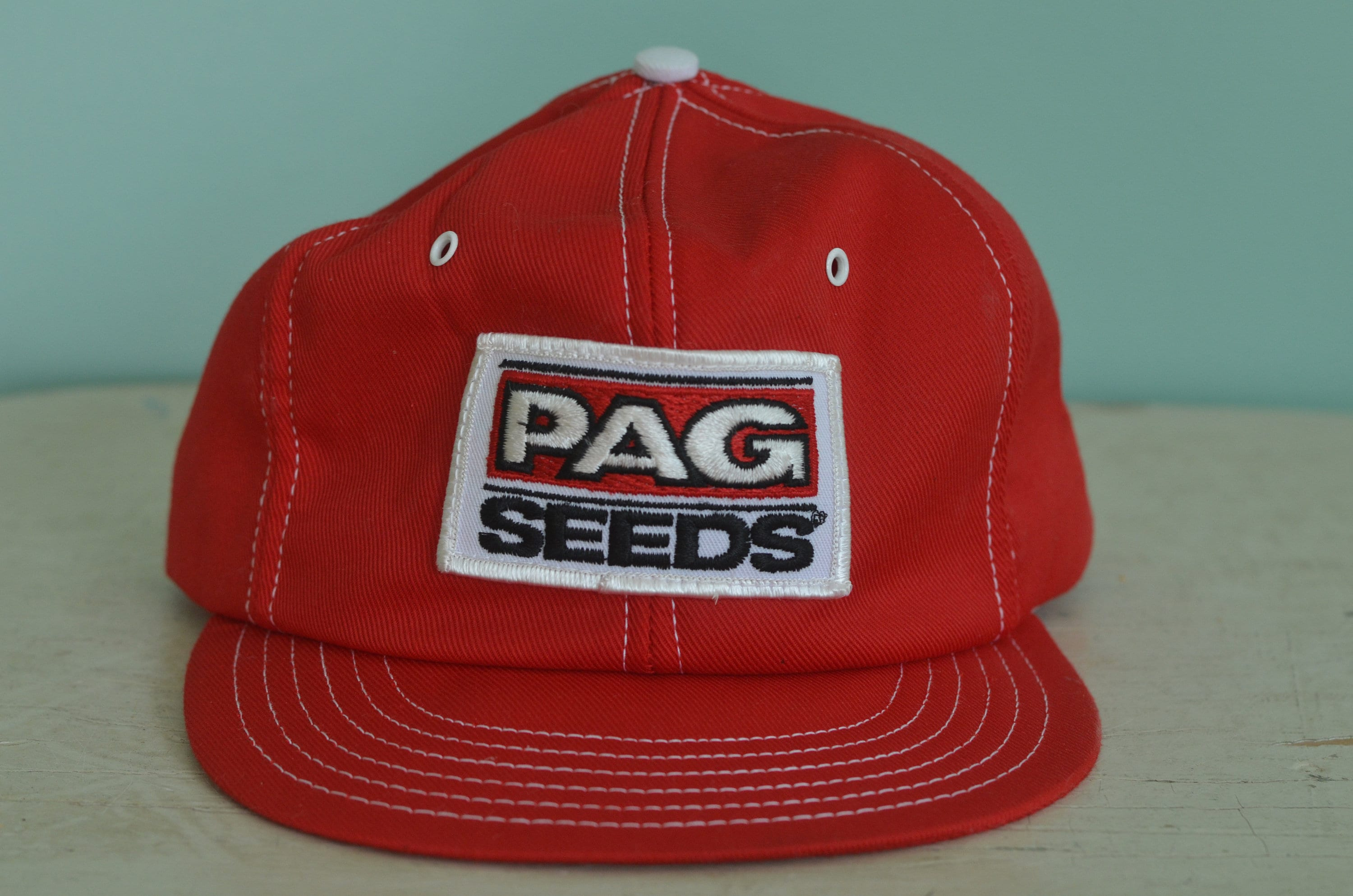 f574e2a4c67 80s Vintage Snapback Trucker Hat PAG Seeds Adjustable Adult