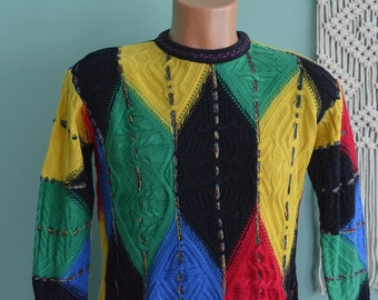 Vintage 90s COOGI Sweater Made in Australia Geometric Primary Colors Hip Hop Notorious B.I.G. Cosby Show Vibrant Small Sweater
